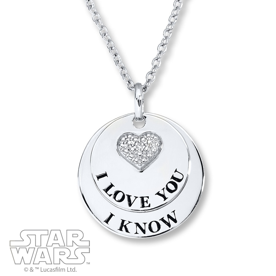 Star Wars Necklace I Love You/I Know Sterling Silver 8ISyWh