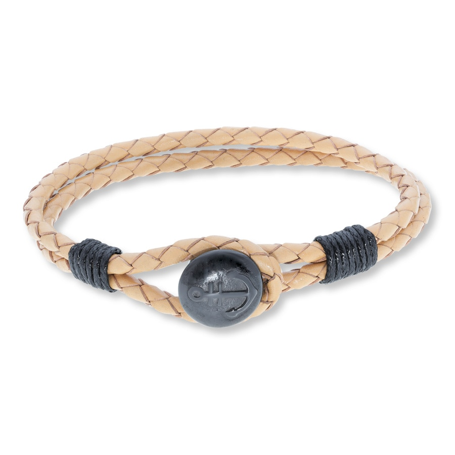 Men S Anchor Bracelet Leather Amp Stainless Steel
