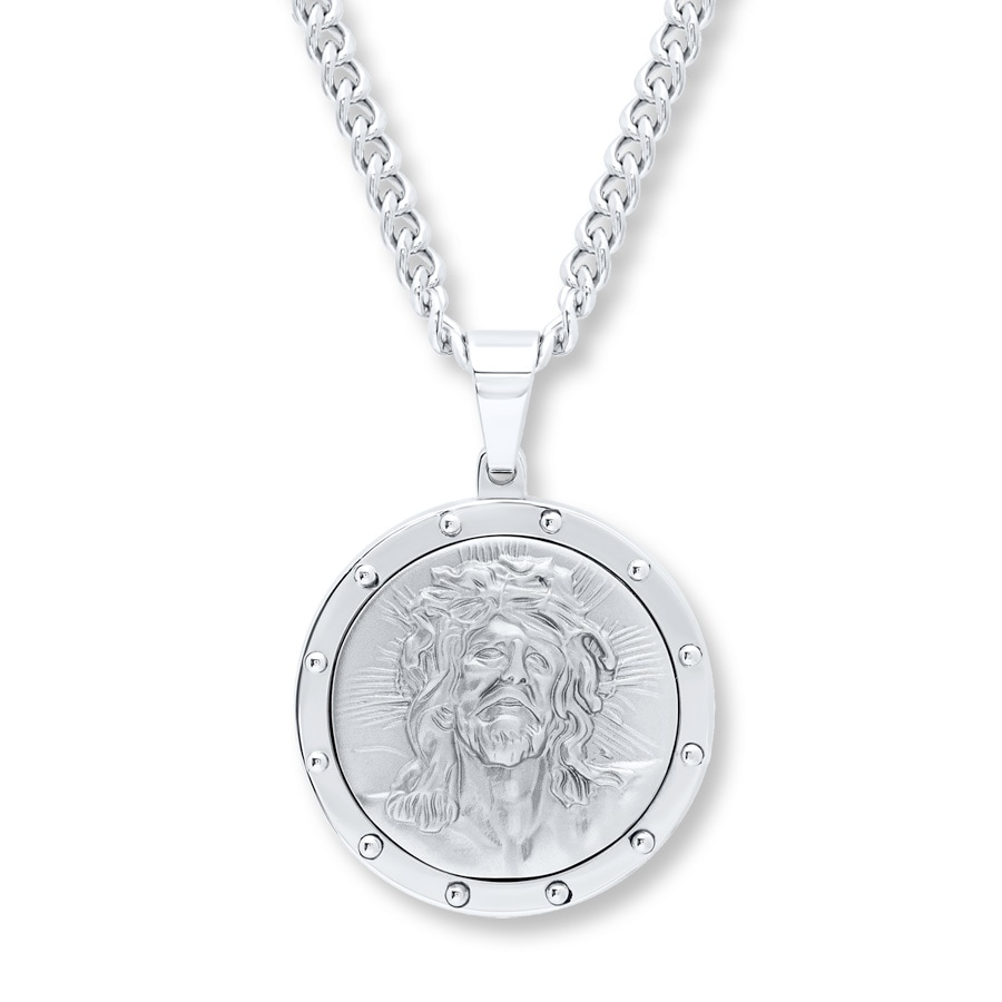 Men S Necklace Jesus Medallion Stainless Steel 508068107