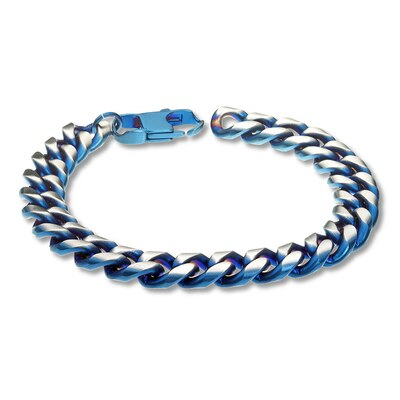 Mens Curb Chain Bracelet Stainless Steel/Blue Ion-Plating 8.5""