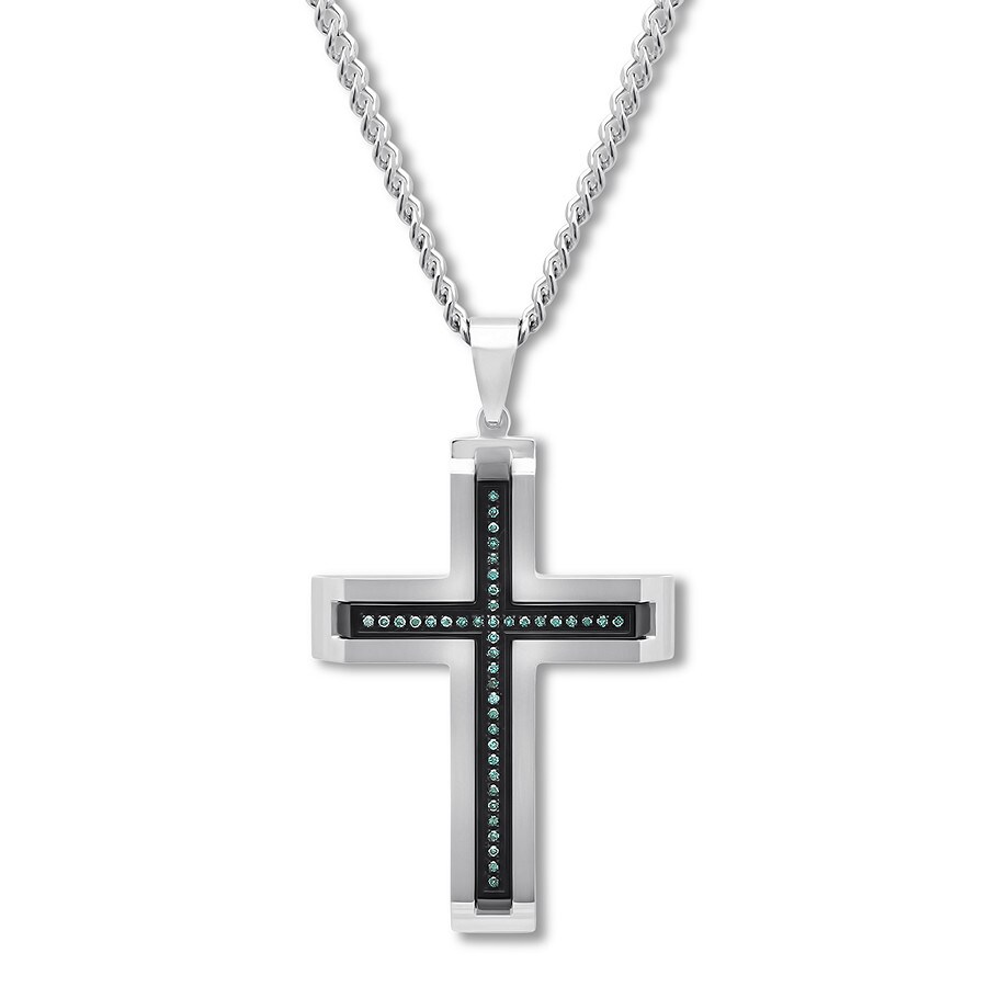 0a8d586522602 Men's Blue Diamond Cross Necklace 1/5 ct tw Stainless Steel 24 ...