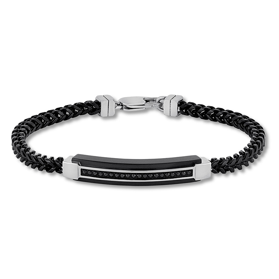 Men S Black Diamond Bracelet 1 5 Ct Tw Stainless Steel 8