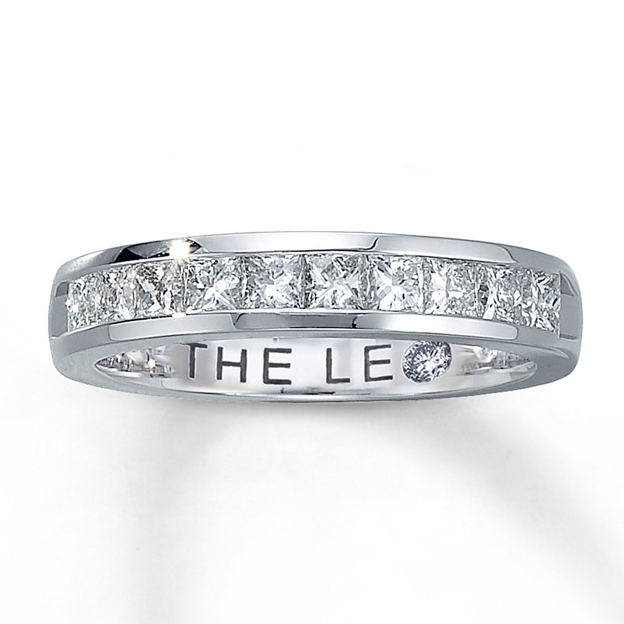 Leo Anniversary Band 1 Ct Tw Diamonds 14k White Gold