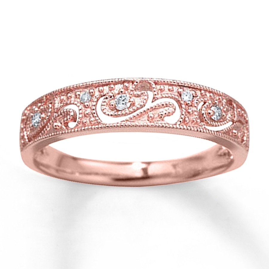 Diamond Ring 1/20 ct tw Round-cut 10K Rose Gold - 531796706 - Kay