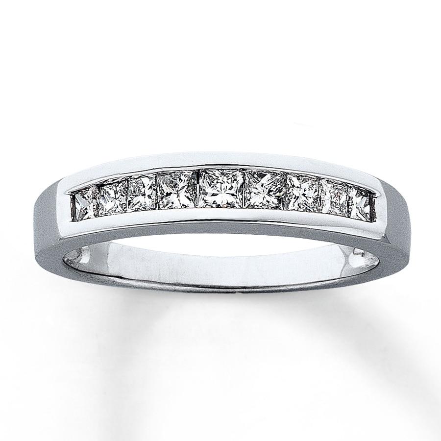 Diamond Wedding Band 1 5 Ct Tw Princess Cut 14k White Gold: Diamond Anniversary Band 1/2 Ct Tw Princess-cut 14K White