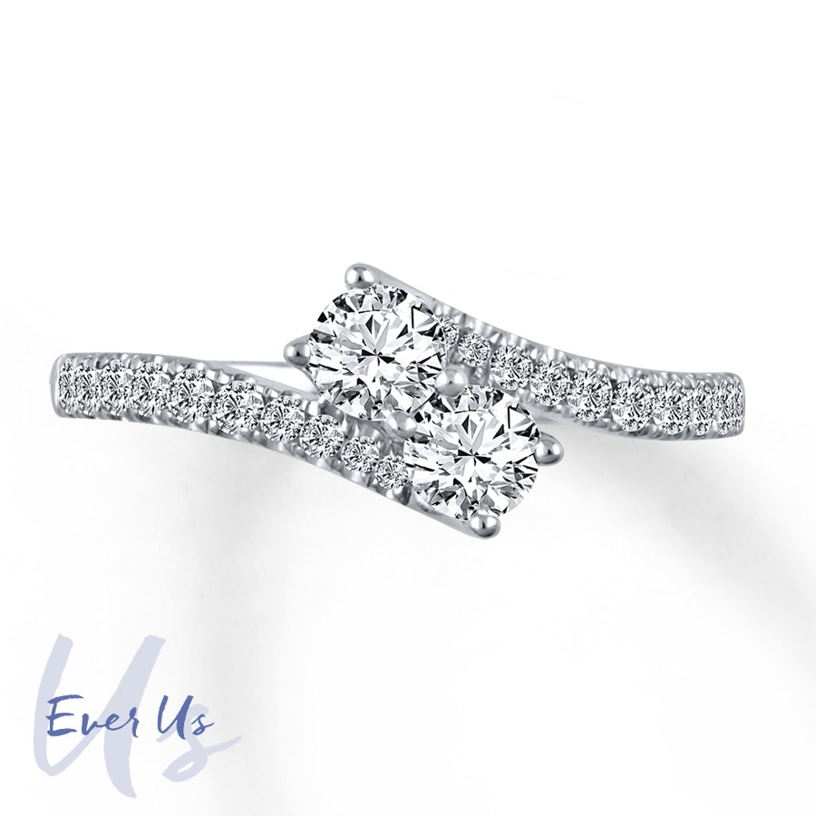 Kay Ever Us TwoStone Ring 34 ct tw Diamonds 14K White Gold