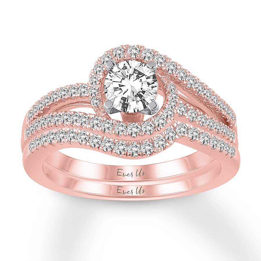 Ever Us Diamond Bridal Set 1 ct tw Round-cut 14K Rose Gold ...