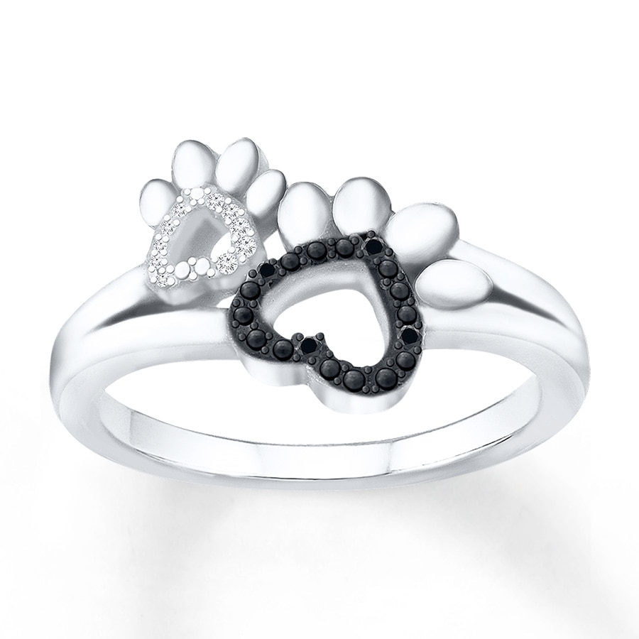 Paw Print Ring 1 20 Ct Tw Diamonds Sterling Silver