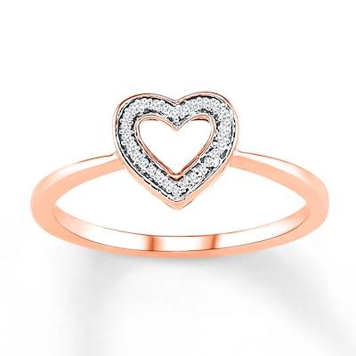 Diamond Heart Ring 1/20 ct tw Round-cut 10K Rose Gold