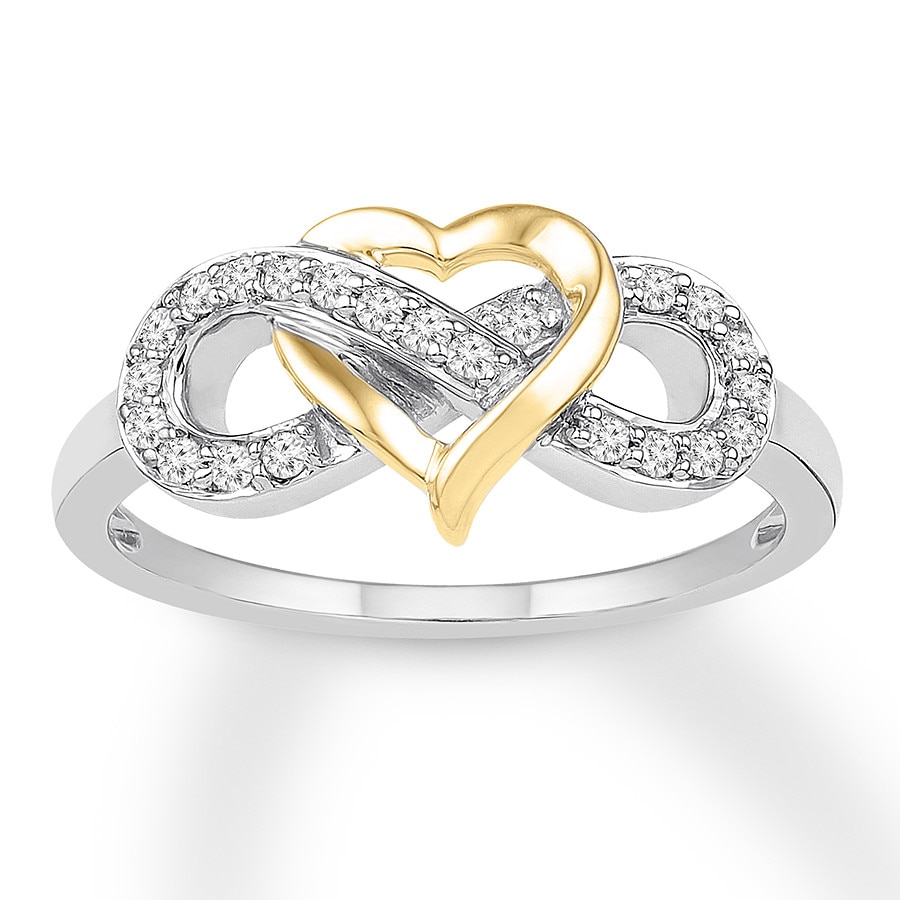 Diamond Heart Infinity Ring 1 6 Ctw 10k Two Tone Gold