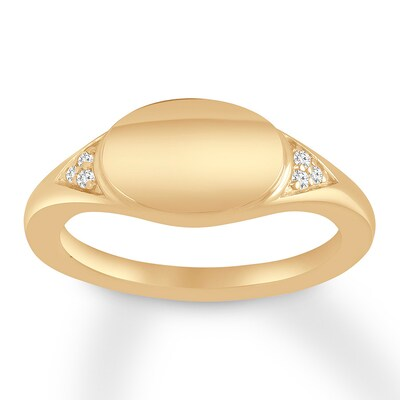 Diamond Signet Ring 10K Yellow Gold