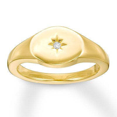 Signet Ring Diamond Accent 10K Yellow Gold