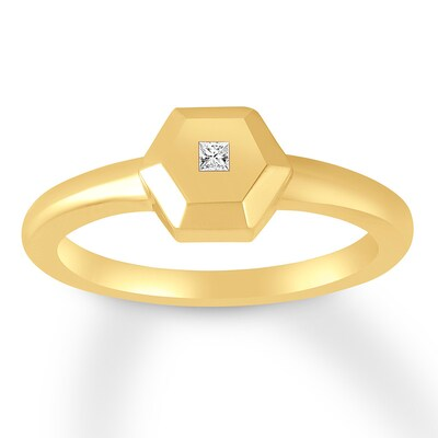 Midi Ring Diamond Accent 10K Yellow Gold