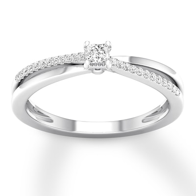 Diamond Ring 1/8 ct tw Princess/Round-cut 10K White Gold