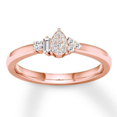 Diamond Teardrop Ring 1/8 ct tw Round/Baguette 10K Rose Gold