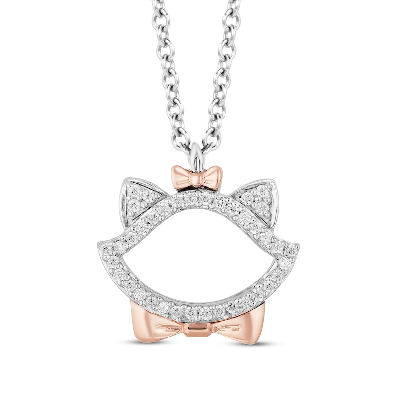 Disney Treasures Aristocats Diamond Necklace 1 10 Ct Tw Sterling Silver 10k Rose Gold Womens Necklaces Necklaces Kay