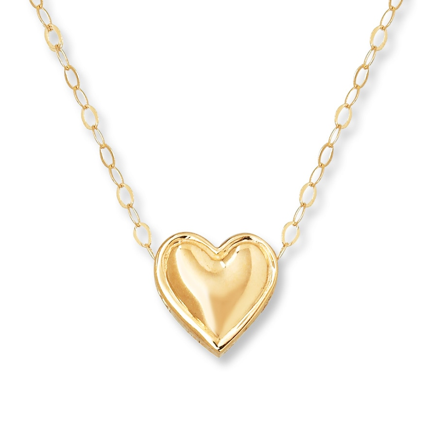 kay young teen heart necklace 14k yellow gold. Black Bedroom Furniture Sets. Home Design Ideas