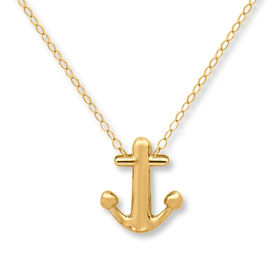 Kay Young Teen Anchor Necklace 14K Yellow Gold