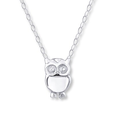 Young Teen Owl Necklace 14K White Gold