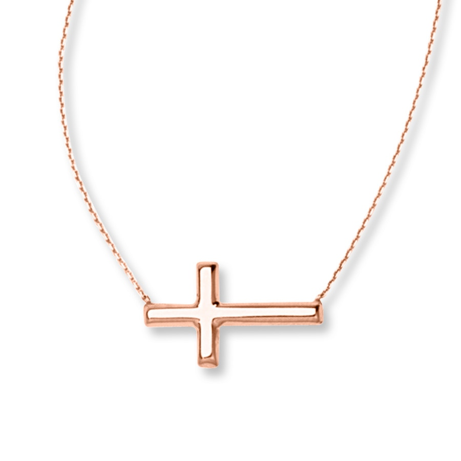 sideways cross necklace 14k rose gold 713236507 kay. Black Bedroom Furniture Sets. Home Design Ideas