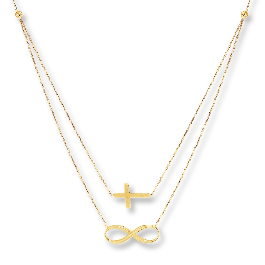 Kay cross infinity symbol layered necklace 14k yellow gold hover to zoom biocorpaavc Image collections