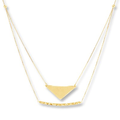 Chevron & Bar Layered Necklace 14K Yellow Gold