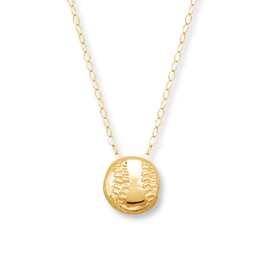Young Teen Baseball Necklace 14k Yellow Gold 713315303 Kay