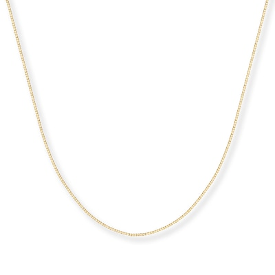"Box Chain Necklace 14K Yellow Gold 16"" Length"