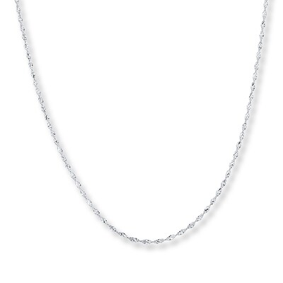 "Singapore Chain 14K White Gold 24"" Length"