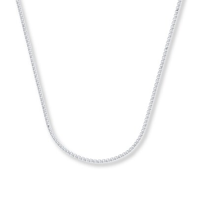 "Wheat Chain Necklace 14K White Gold 18"" Length"