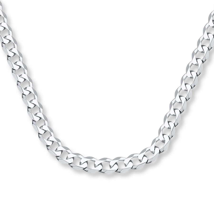 "White Gold Chain Bracelet: Men's Curb Chain Necklace 14K White Gold 20"" Length"