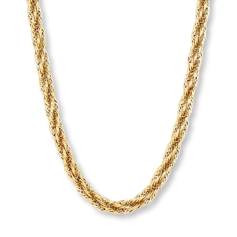 Men S Twisted Link Chain Necklace 10k Yellow Gold 20