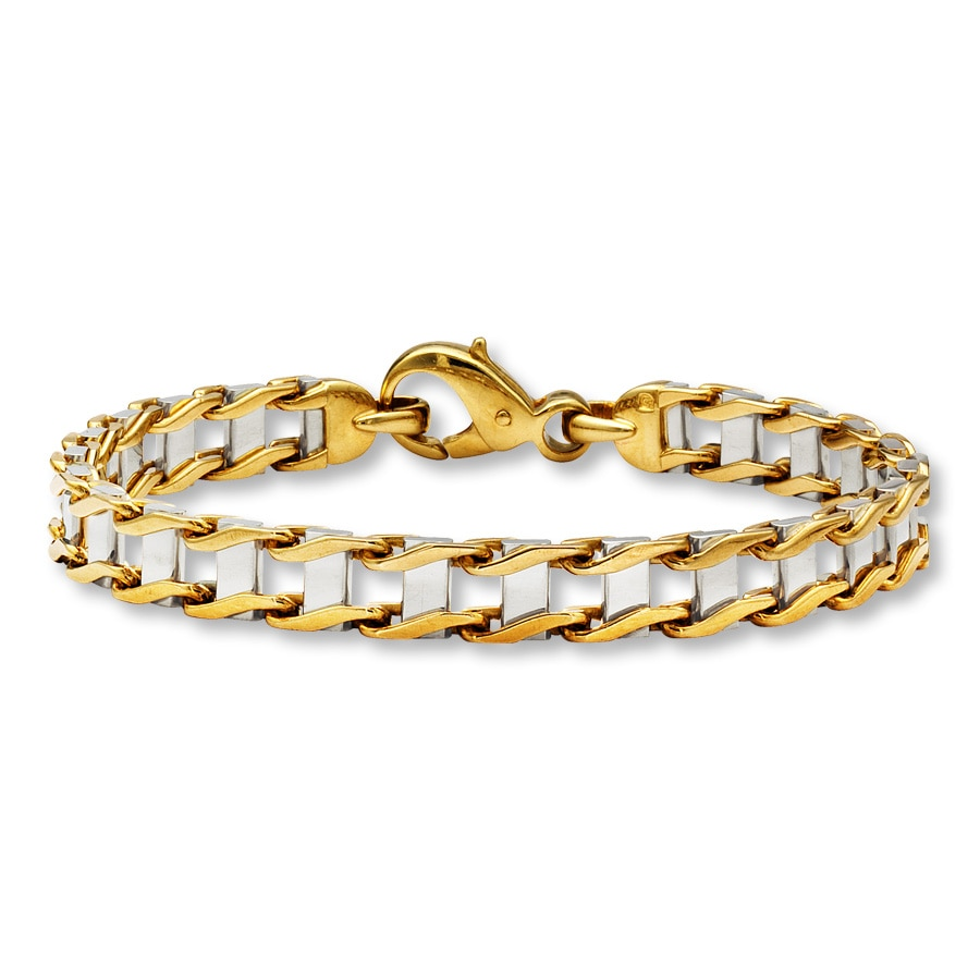"Bold Link Men's Bracelet 10K Two-Tone Gold 8.75"" Length ..."