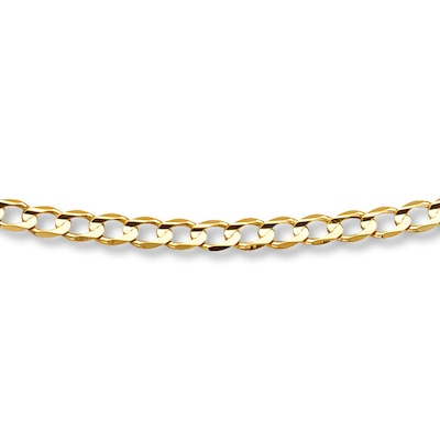 "Mens Curb Link Bracelet 10K Yellow Gold 8"" Length"