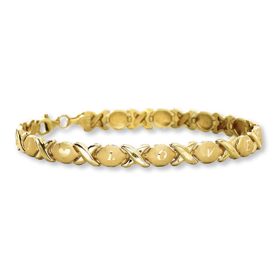 I Love You Bracelet 10k Yellow Gold 7 Length