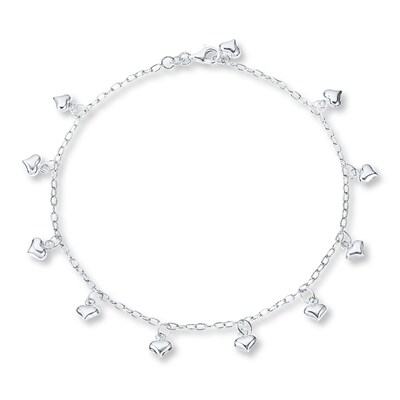 "Puffed Heart Anklet Sterling Silver 10"" Length"