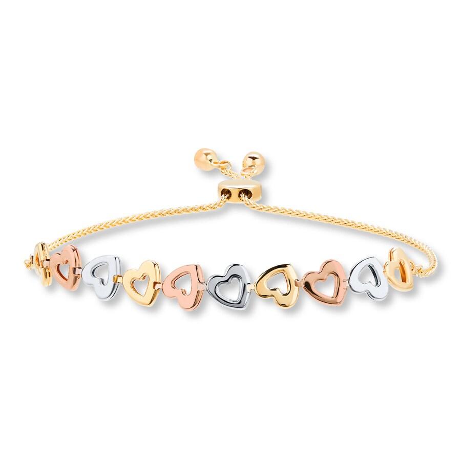 Heart Bolo Bracelet 10k Tri Color Gold 722545009 Kay