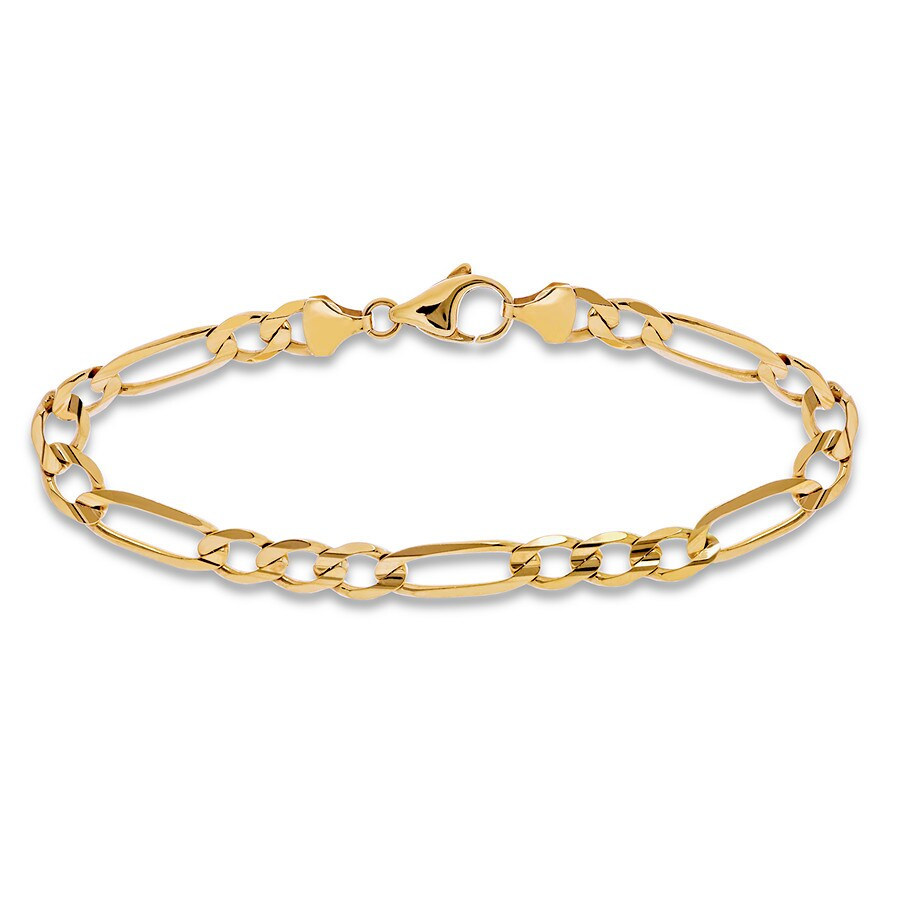 Men S Figaro Link Bracelet 14k Yellow Gold 8 5