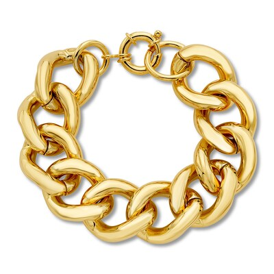 "Chain Bracelet Bronze/14K Yellow Gold Electroplate 8.5"" Length"
