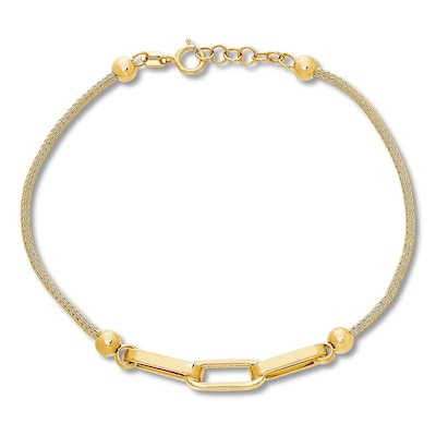 "Link Bracelet 10K Yellow Gold 7""-7.5"" Adjustable"