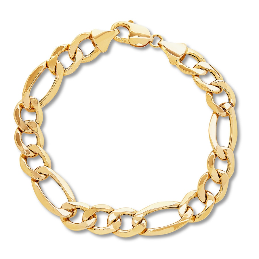 73bcd40f1 Men's Figaro Chain Bracelet 14K Yellow Gold 9