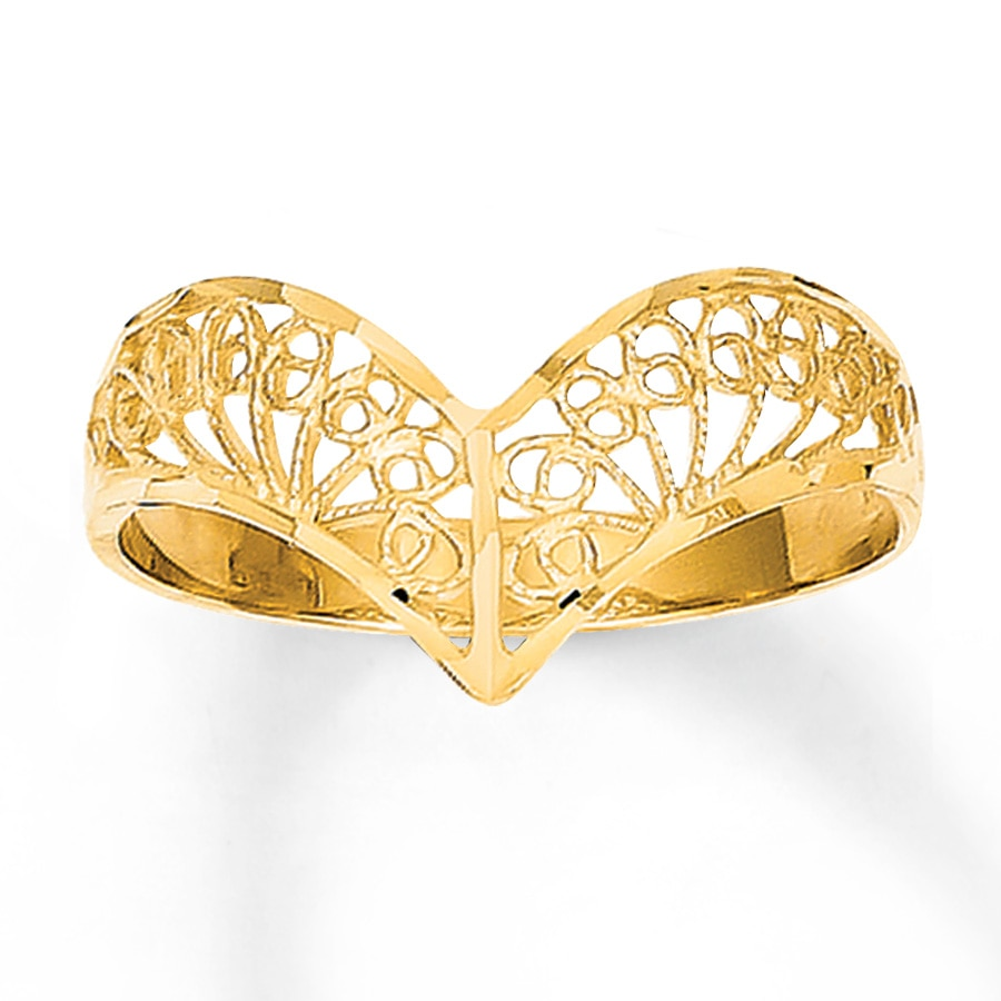 filigree chevron ring 14k yellow gold