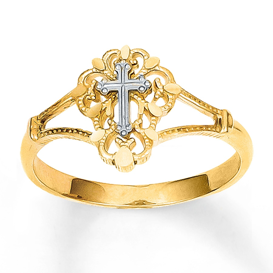 Women S Cross Ring 14k Two Tone Gold 76188330599 Kay