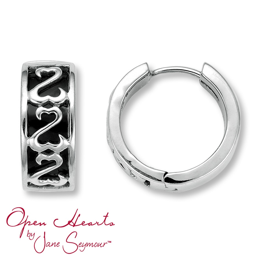Open Heart Hoop Earrings Black Enamel Sterling Silver