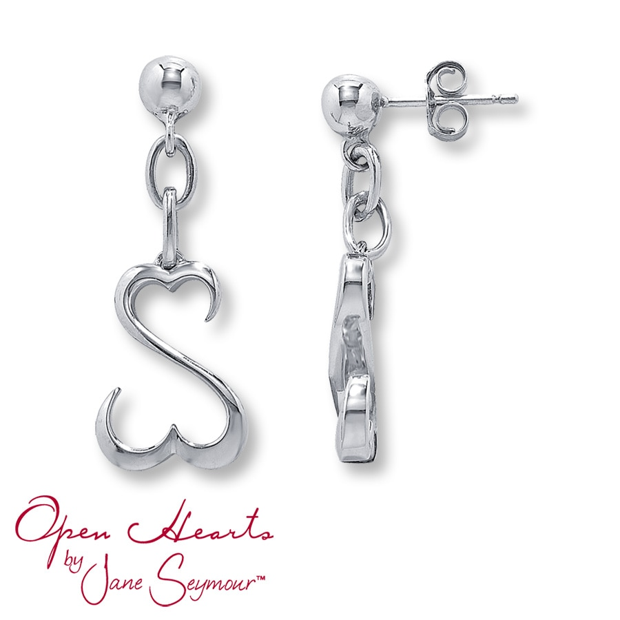 Open Heart Earrings Sterling Silver