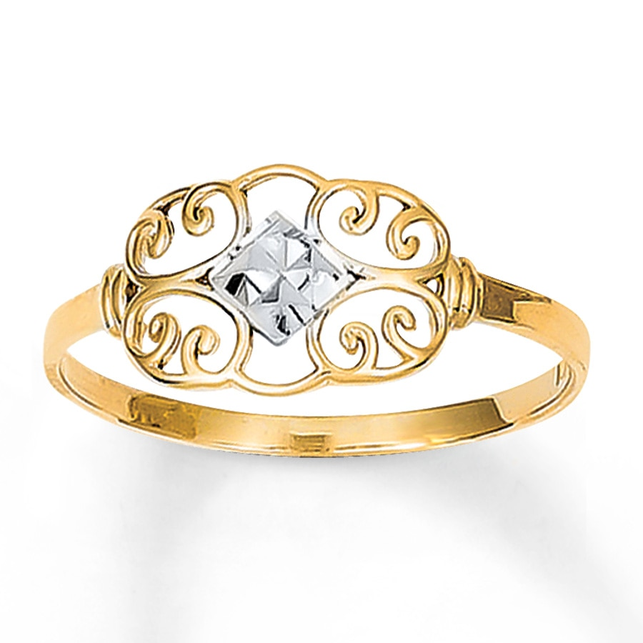 filigree ring 14k yellow gold rhodium
