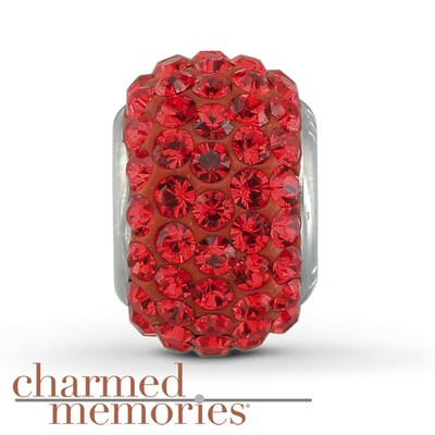 Charmed Memories Red Crystal Charm Sterling Silver