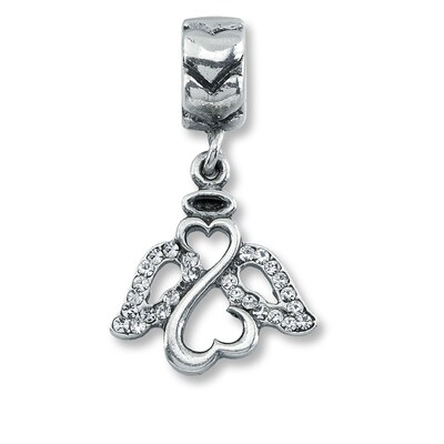 Charmed Memories Open Hearts Angel Charm Sterling Silver