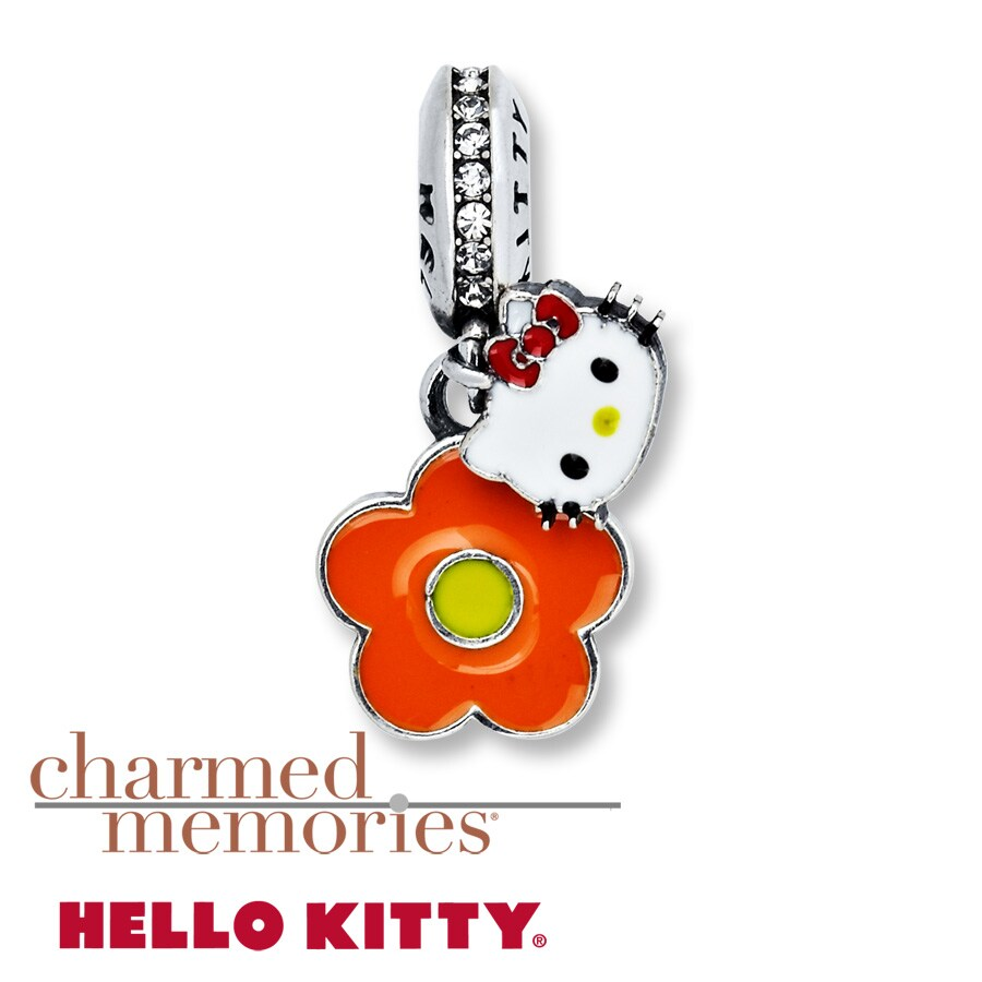 Charmed Memories Hello Kitty Flower Charm Sterling Silver ewNGSE
