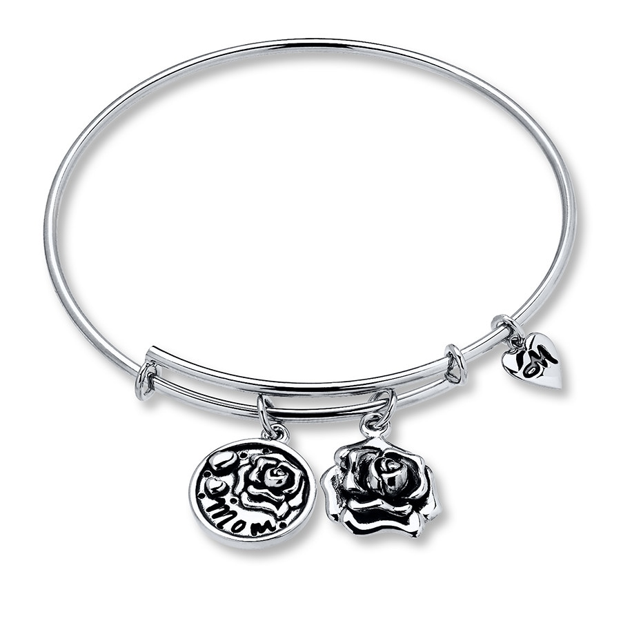 com mom silver sterling bangles bangle friends forever dp mother charm bracelet adjustable jewelry daughter amazon